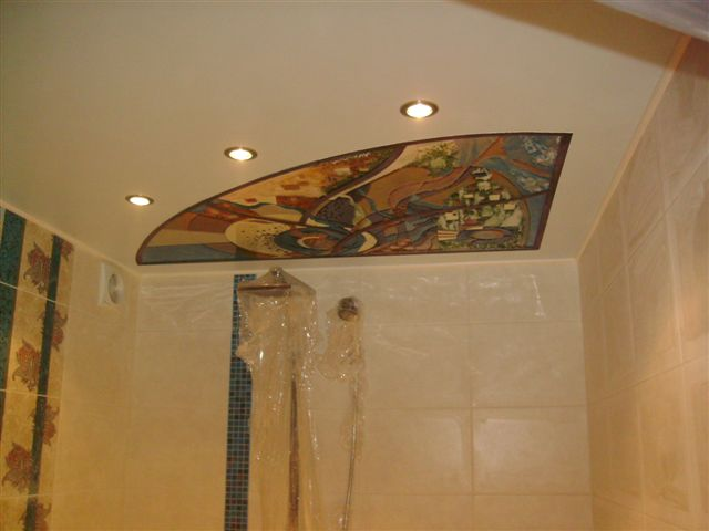 Натяжные потолки в ванной своими руками 27